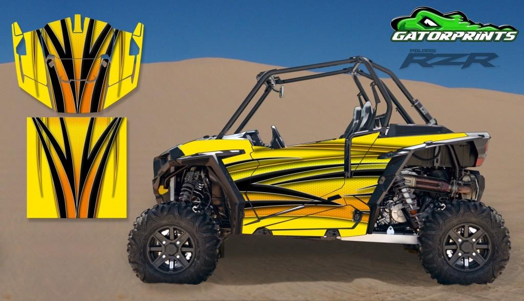 Yellow 2014 RZR XP2 1000 Custom Decal Kits – 2 Seater