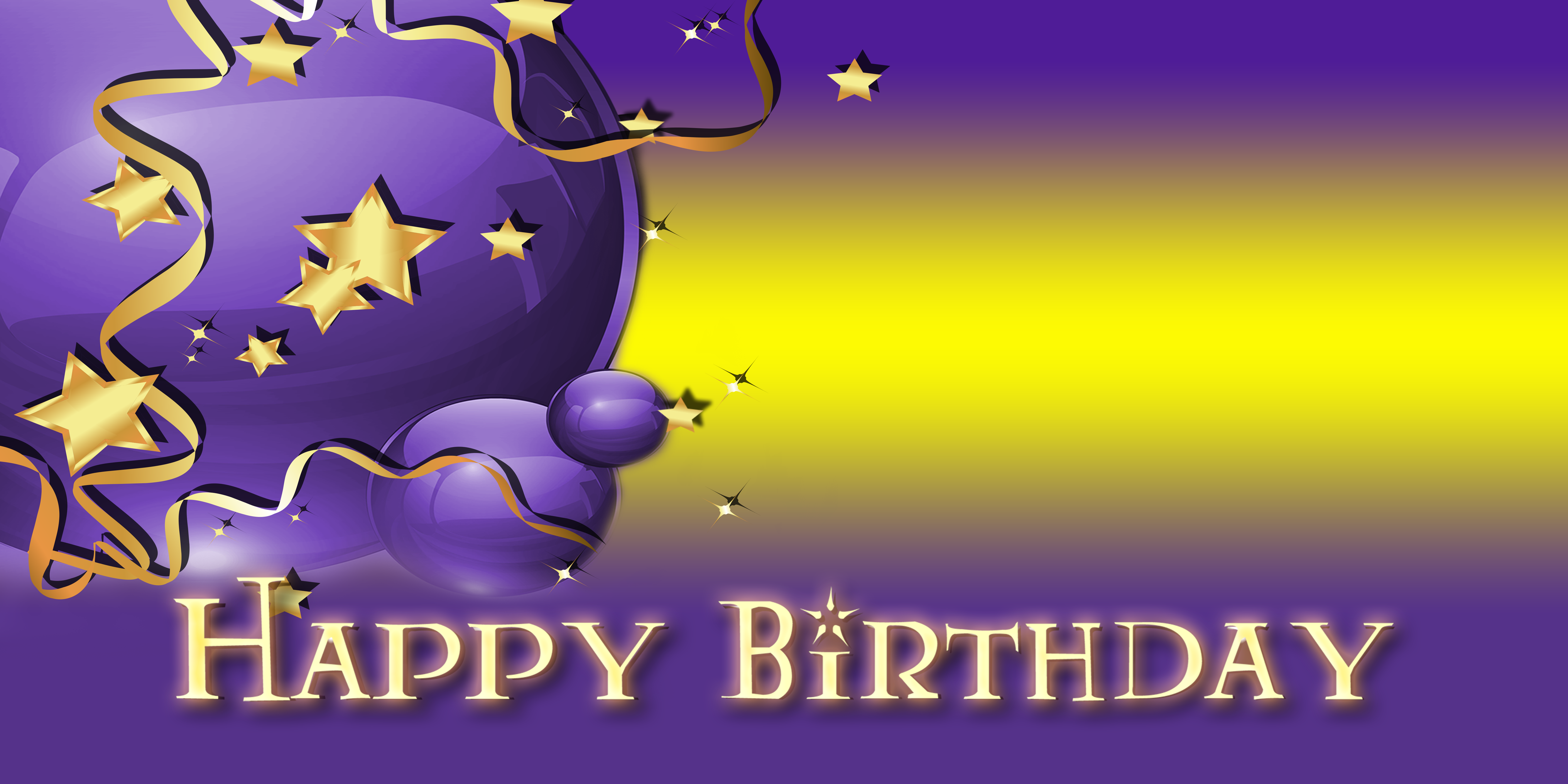 Happy Birthday Banner Star Balloon Purple Vinyl