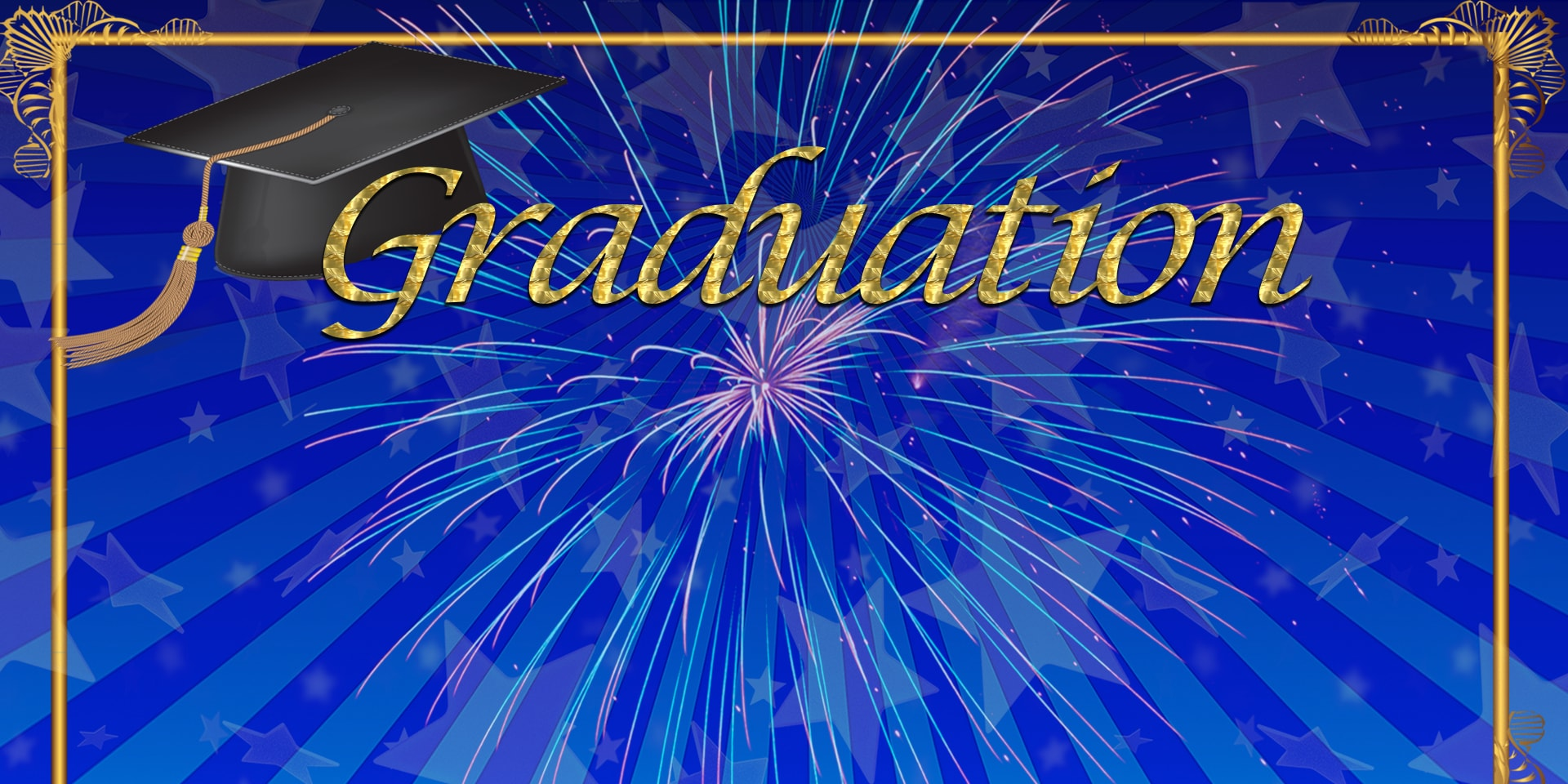 School Banners Graduation Blue Fireworks