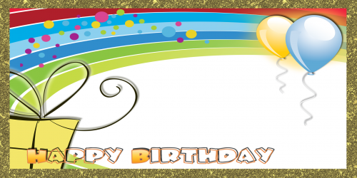 Happy Birthday Banner – Gold Rainbow