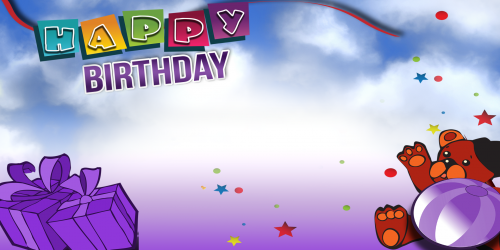 Happy Birthday Banner – Purple Bear