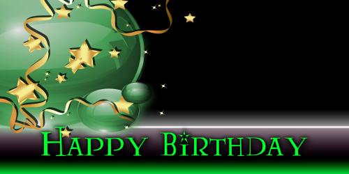 Happy Birthday Banner – Star Balloon Green