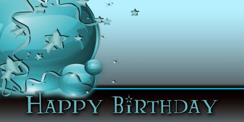 Happy Birthday Banner – Star Balloon Teal