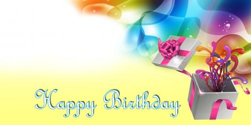 Happy Birthday Banner – Yellow Gift