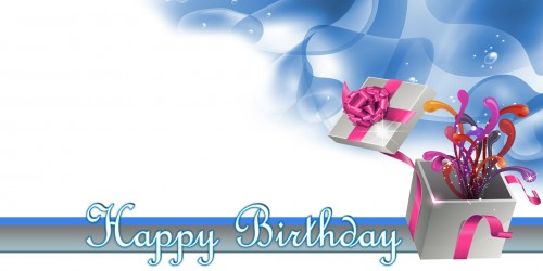 Happy Birthday Banner Blue Gift