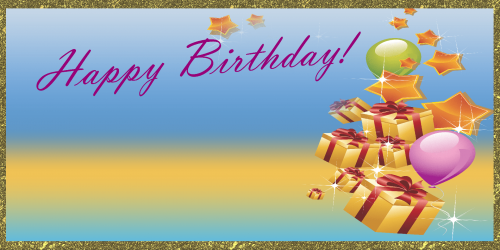 Happy Birthday Banner Gift Stars Gold