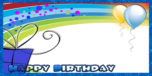 Happy Birthday Banner – Blue Rainbow