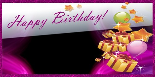Happy Birthday Banner – Gift Stars Pink