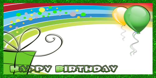 Happy Birthday Banner – Green Rainbow