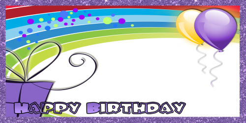 Happy Birthday Banner – Purple Rainbow