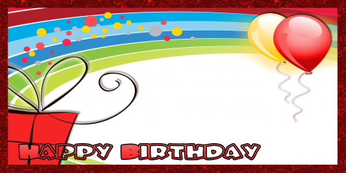 Happy Birthday Banner – Red Rainbow