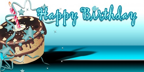Happy Birthday Banner – Teal Cake