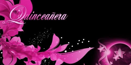 Quinceanera Banner – Flowers Pink