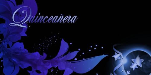 Quinceanera Banner - Flowers Blue
