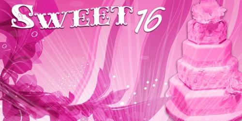 Sweet 16 Banner - Cake Pink