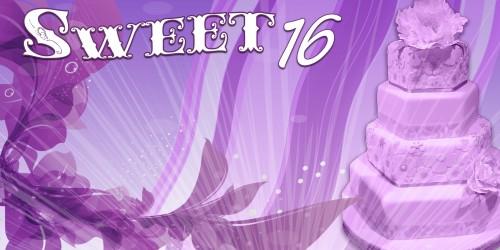 Sweet 16 Banner - Cake Purple