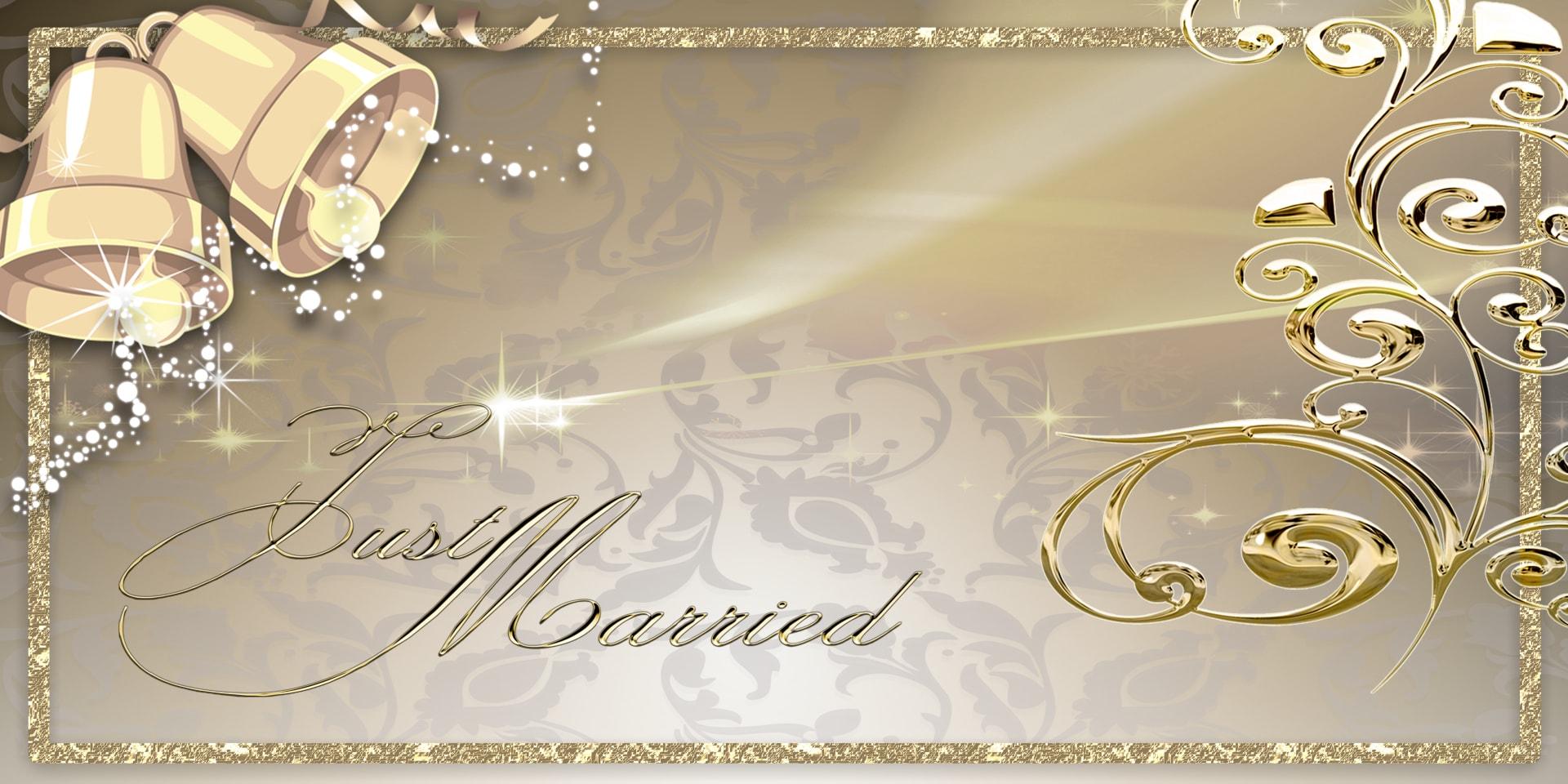 Wedding Banners Bells Gold