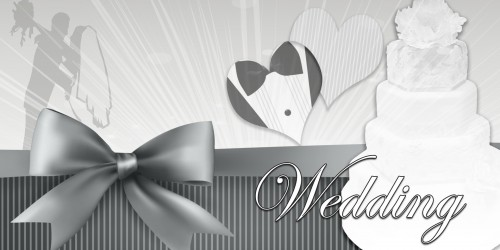 Wedding Banner - Cake Black White