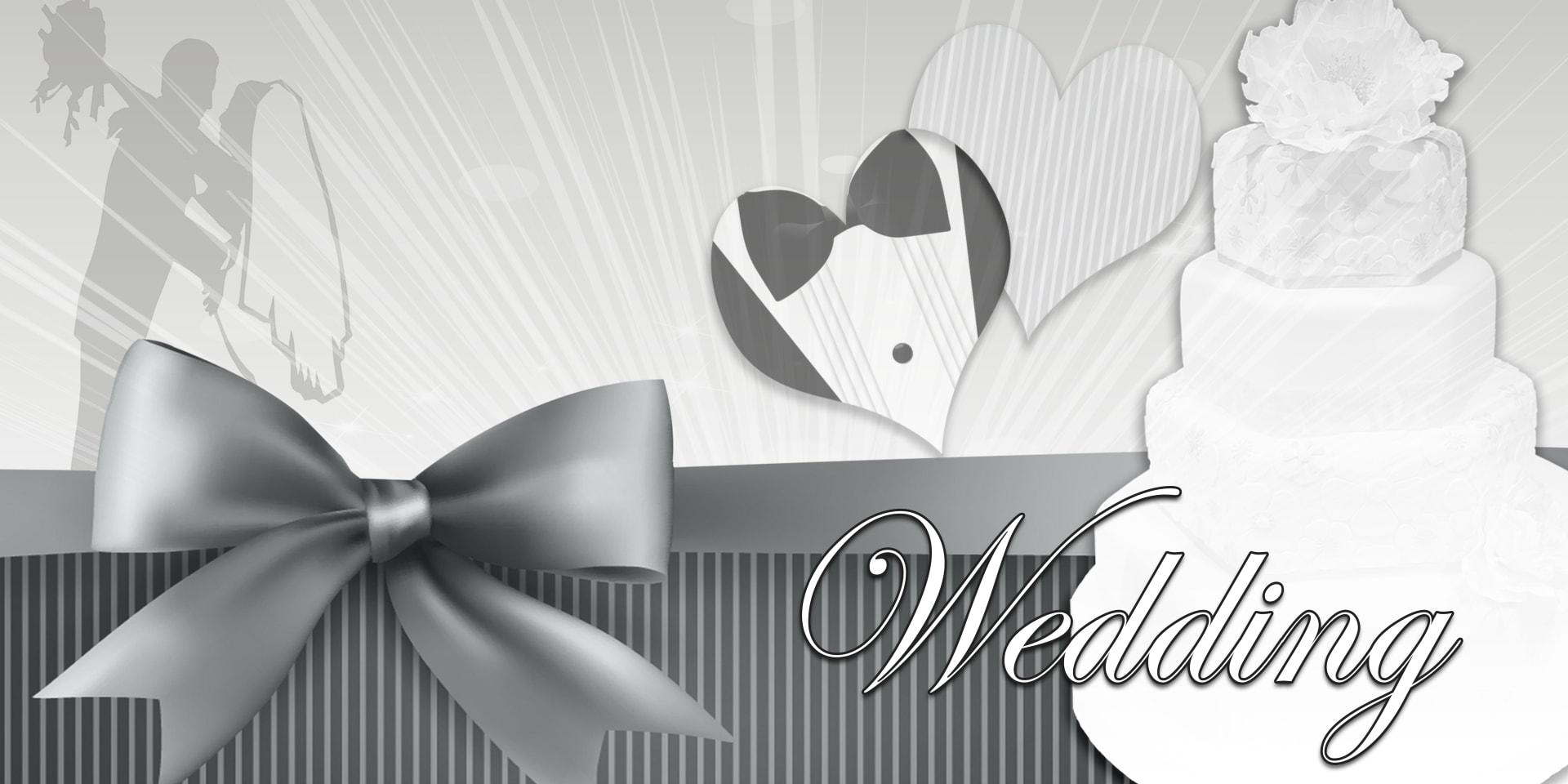 Wedding Banners Cake Black White