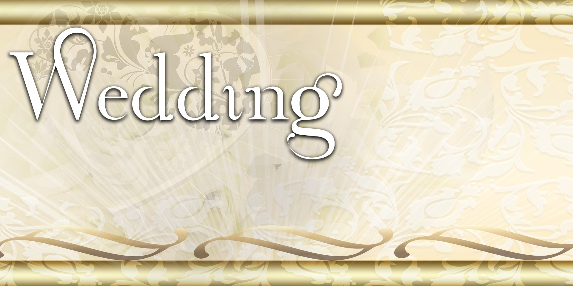 Wedding Banners Scrolls Lace Gold