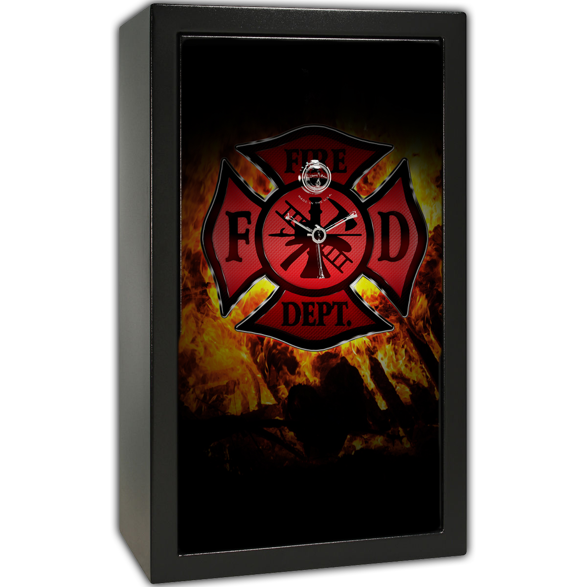 Gun Safe Decal - Large Fire Department Logo Flames