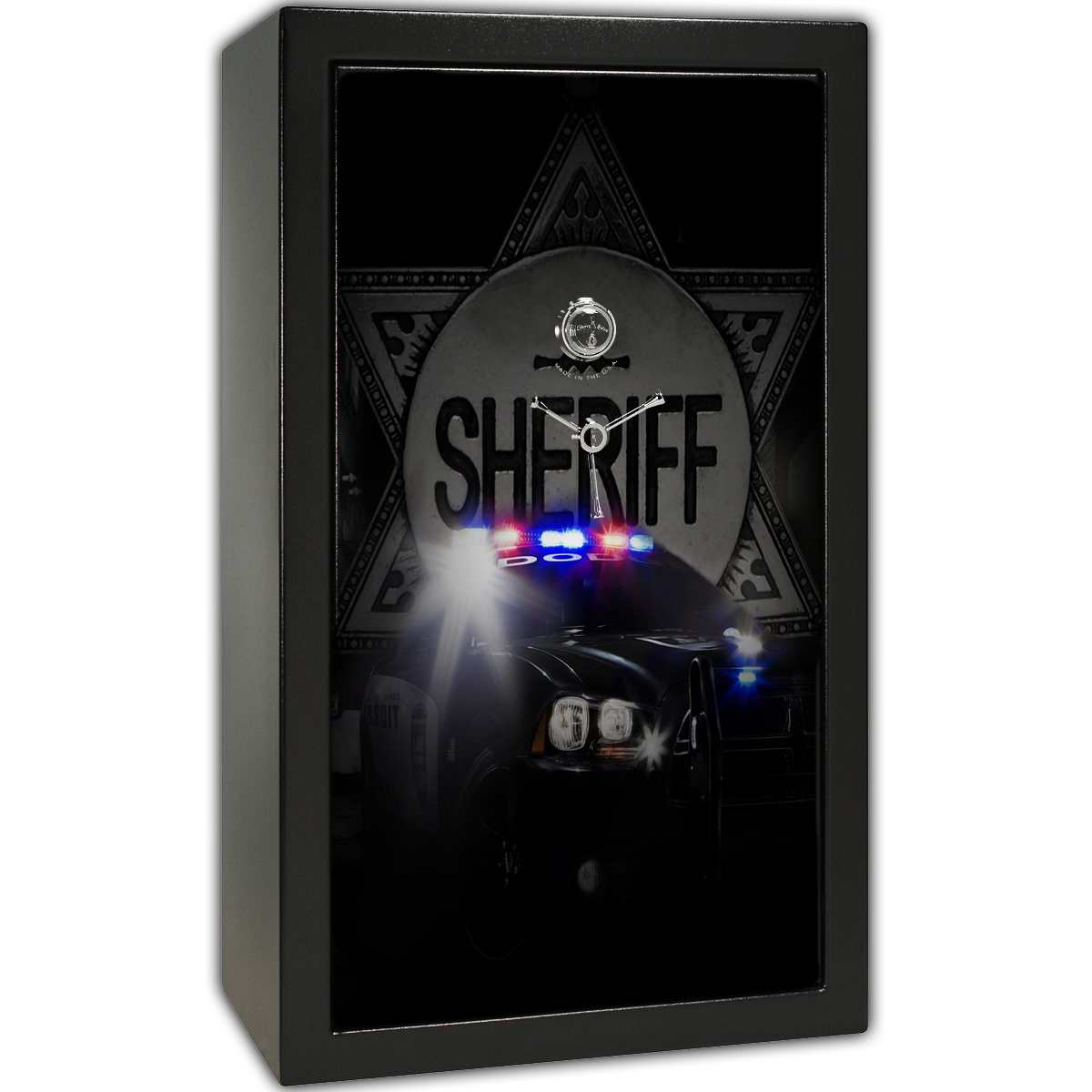 Gun Safe Decal - Large Sheriff Badge Cruiser