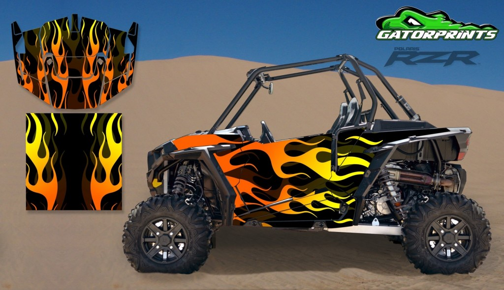 Flames 2014 RZR XP2 1000 Custom Decal Kits – 2 Seater