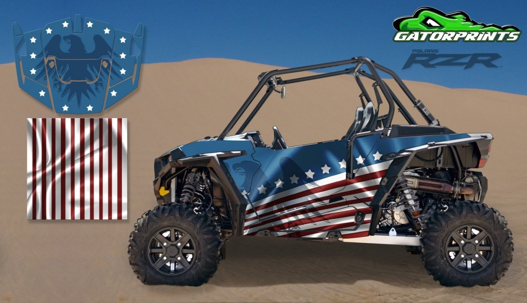 USA American Flag 2014 RZR XP2 1000 Custom Decal Kits – 2 Seater