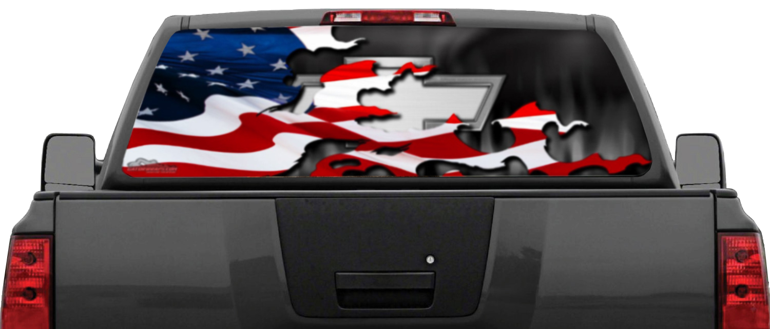 Chevy Patriotic Flag Window Graphics Gatorprints - Chevy window decals for trucks