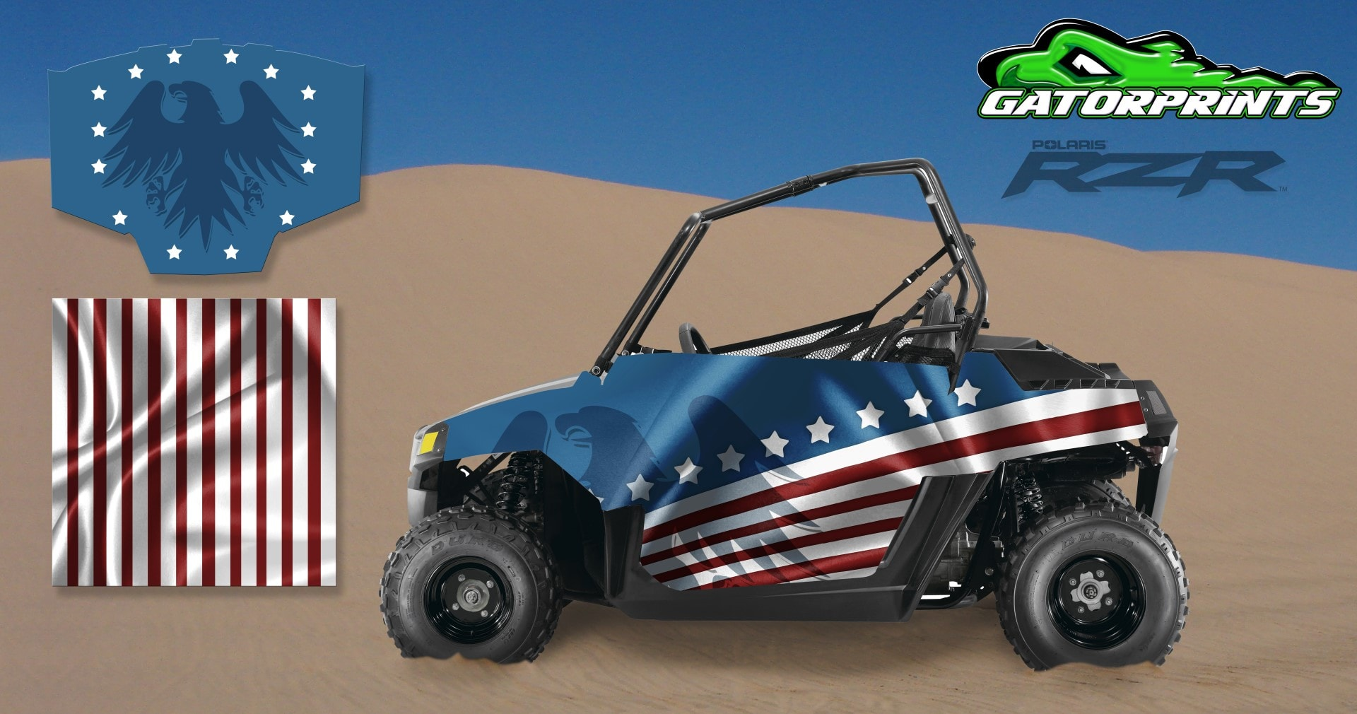 polaris youth rzr 170 decal kits usa american flag design. Black Bedroom Furniture Sets. Home Design Ideas