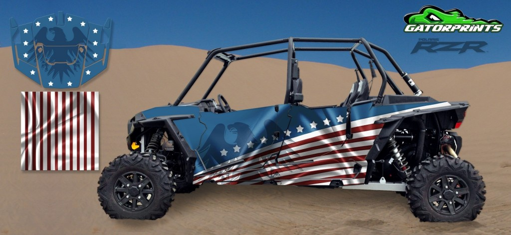 USA American Flag 2014 RZR XP2 1000 Custom Decal Kits – 4 Seater