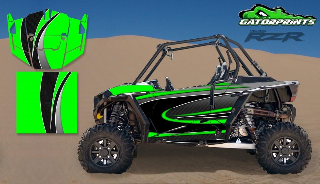 Green 2014 RZR XP2 1000 Custom Decal Kits – 2 Seater