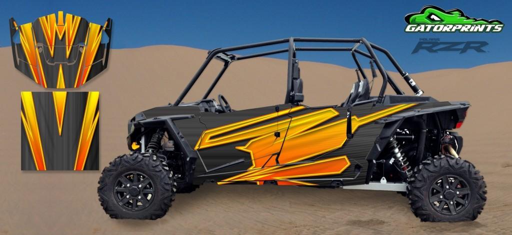 Orange 2014 RZR XP2 1000 Custom Decal Kits – 4 Seater