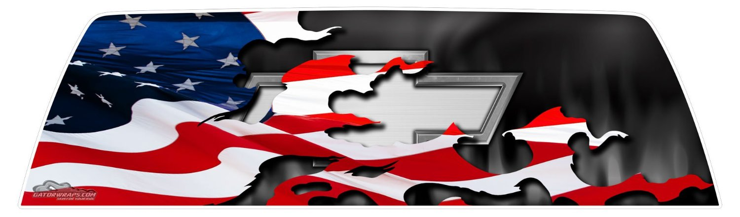 window graphics chevy patriotic flag