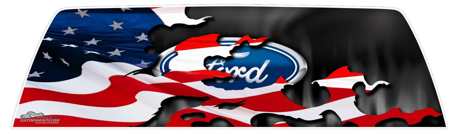 window graphics - ford patriotic flag